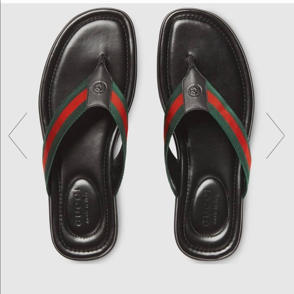 Brand New mens web and leather Gucci thong sandals